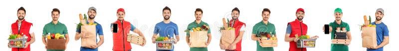 Collage de mensajeros con órdenes en el fondo blanco fotografía de archivo libre de regalías