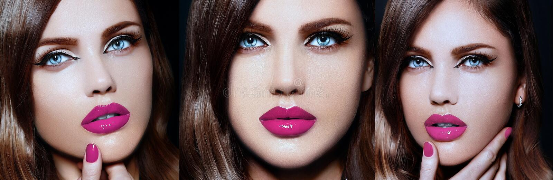 Collage de modèle élégant sexy de brune avec les lèvres lumineuses de peau parfaite image stock