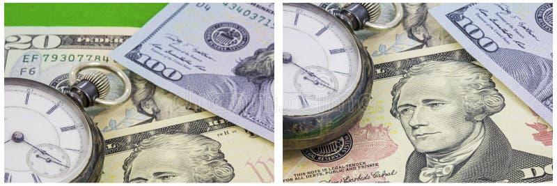 Collage de montre de vintage de concept d'argent de temps photographie stock libre de droits