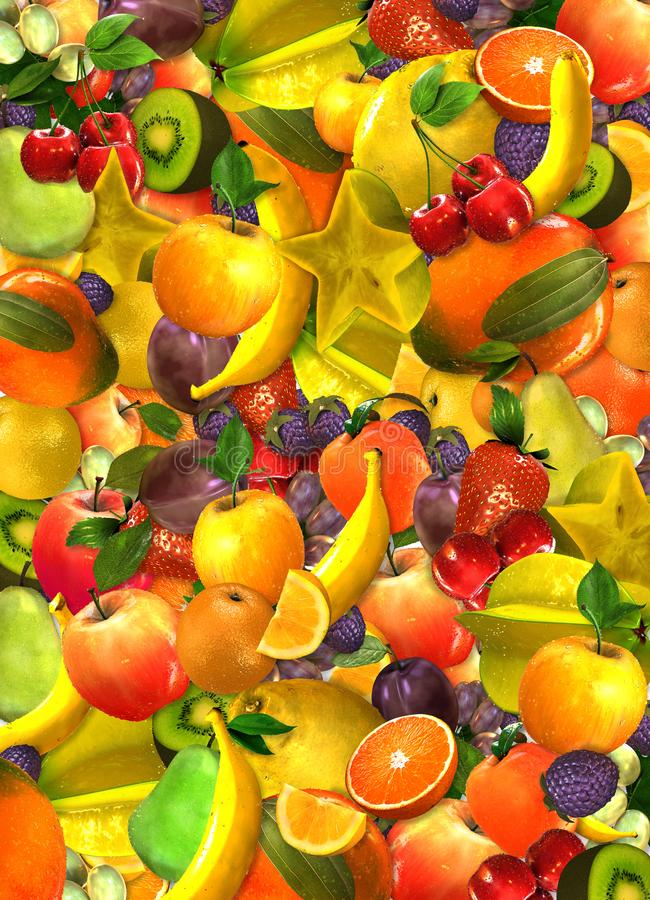 Collage de muchas diversas frutas sobrepuestas en diversos colores ilustración del vector