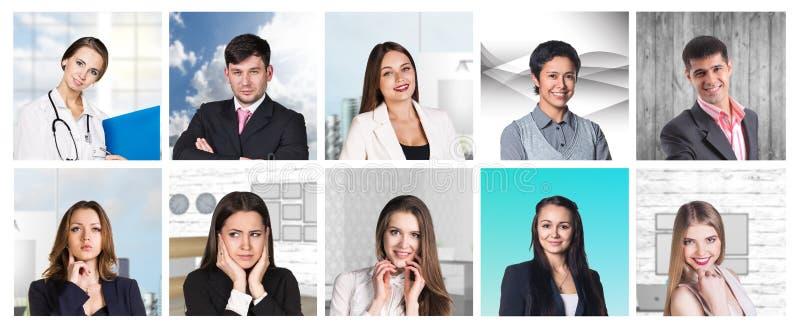 Collage de muchas diversas profesiones humanas fotos de archivo
