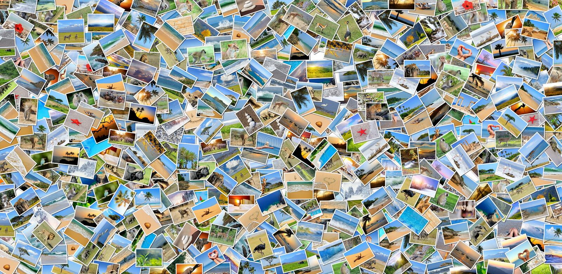 Collage de muchas fotos fotos de archivo