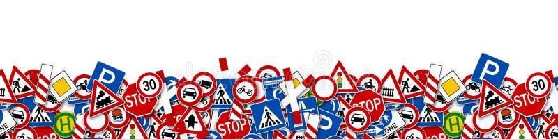 Collage de muchos ejemplo de la señal de tráfico stock de ilustración