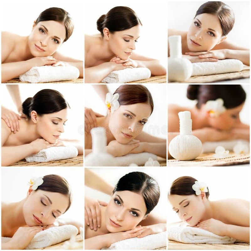 Collage de mujeres jovenes en procedimientos del masaje del balneario imágenes de archivo libres de regalías