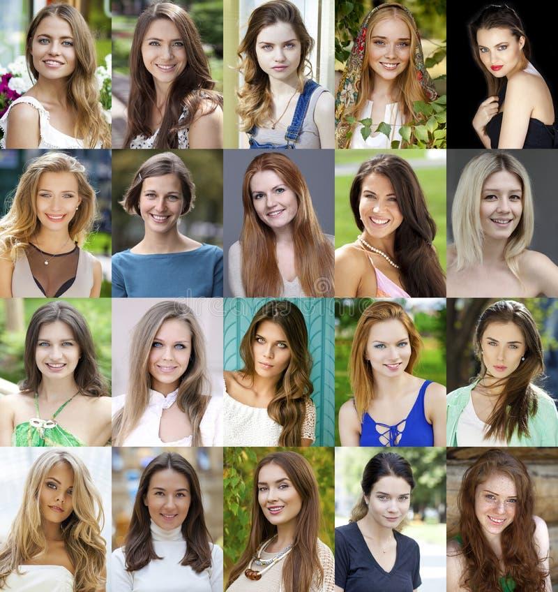 Collage de mujeres jovenes hermosas entre dieciocho y treinta sí imágenes de archivo libres de regalías