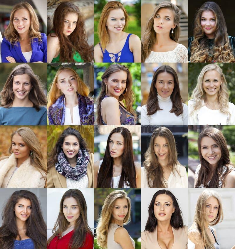 Collage de mujeres jovenes hermosas entre dieciocho y treinta sí fotografía de archivo libre de regalías