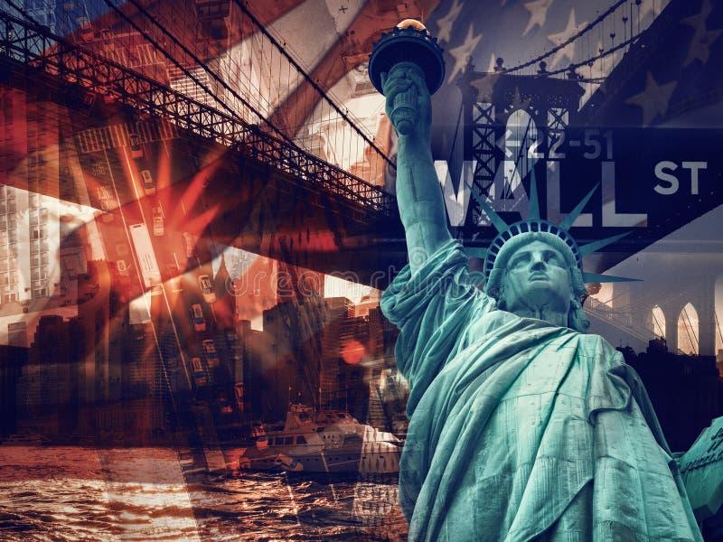 Collage de New York City comprenant la statue de la liberté et du severa photos stock