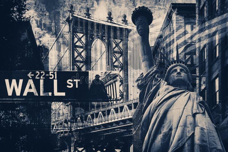 Collage de New York City comprenant la statue de la liberté et du severa image stock