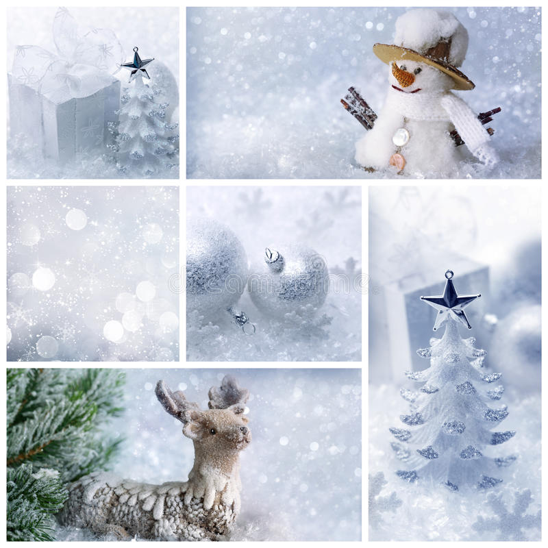 Collage de Noël blanc photo stock