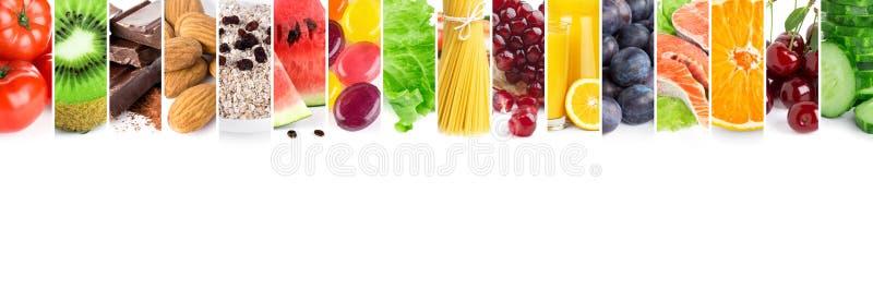 Collage de nourriture mûre fraîche mélangée images libres de droits