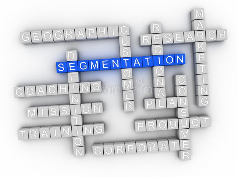 collage de nuage de mot de la segmentation 3d, fond de concept d'affaires illustration stock