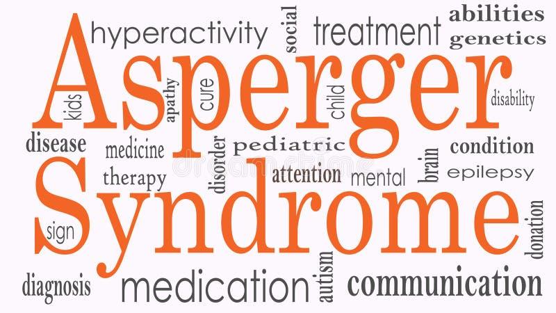Collage de nuage de mot de syndrome d'Asperger, concept de santé illustration stock