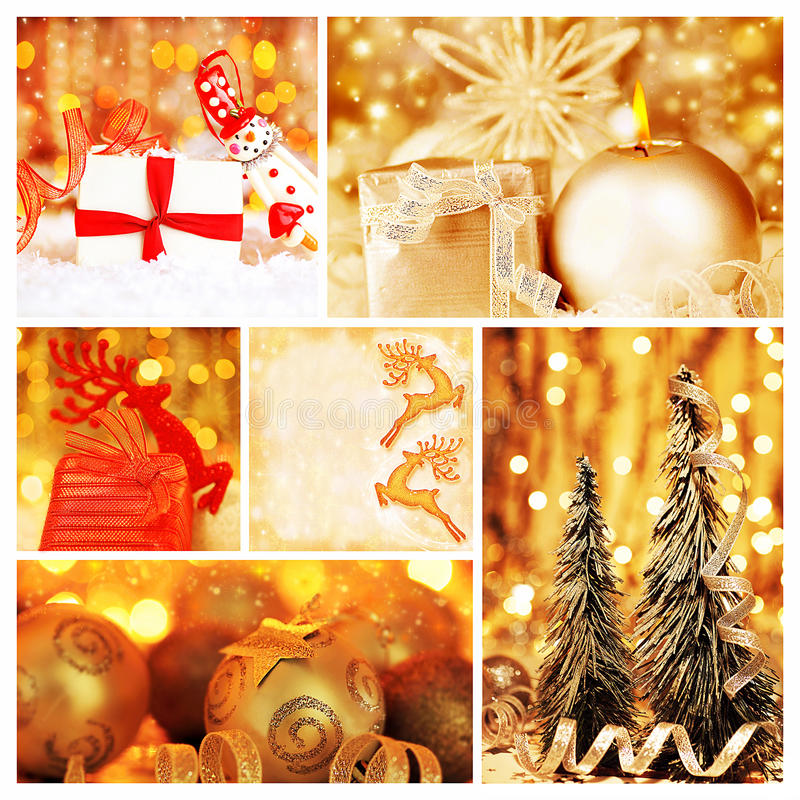 Collage de oro de las decoraciones de la Navidad fotos de archivo