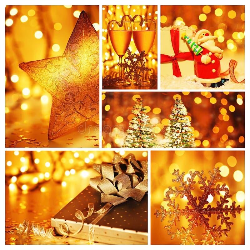 Collage de oro de las decoraciones de la Navidad fotos de archivo libres de regalías