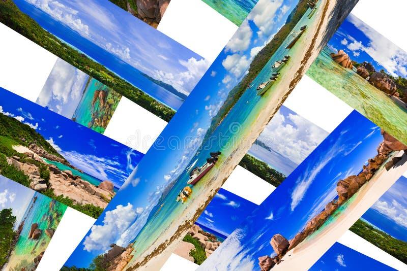 Collage de panorama de plage d'été photo libre de droits