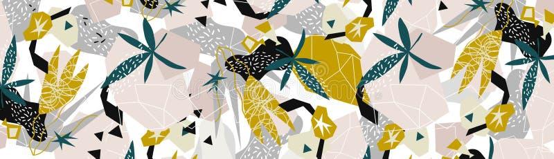 Collage de papier d'éléments floraux abstraits illustration de vecteur tirée par la main illustration stock