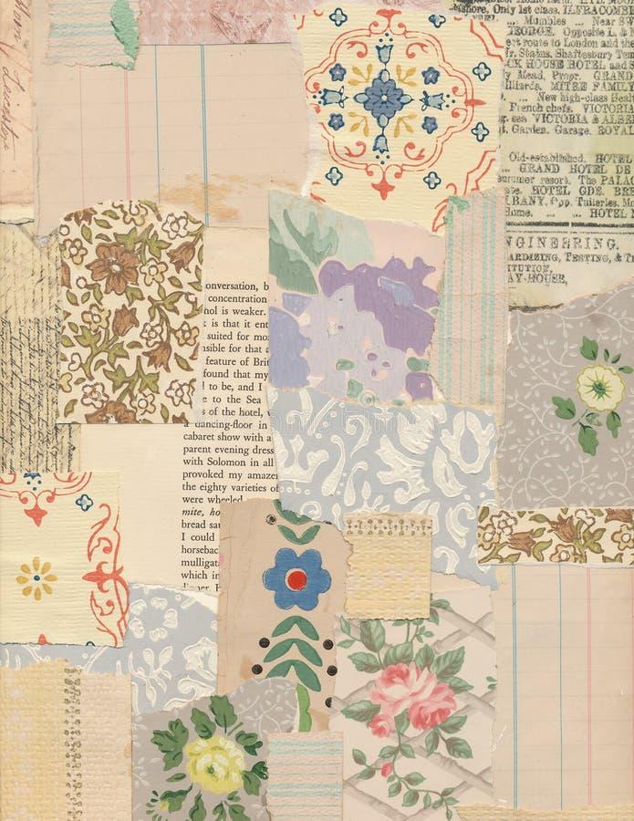 Collage de patchwork des papiers de vintage photo libre de droits