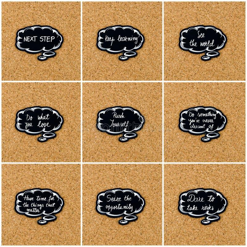 Collage de photo de divers mots écrits sur la bulle de pensée noire images libres de droits