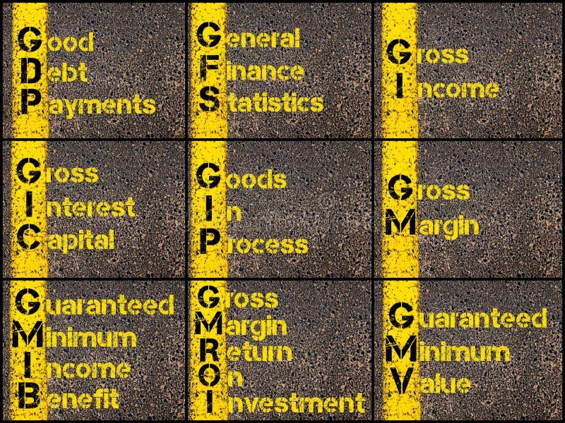 Collage de photo des acronymes d'affaires illustration de vecteur