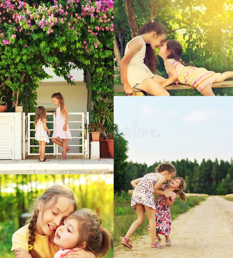 Collage de photo des enfants de sourire et riants heureux jouant, RU image stock