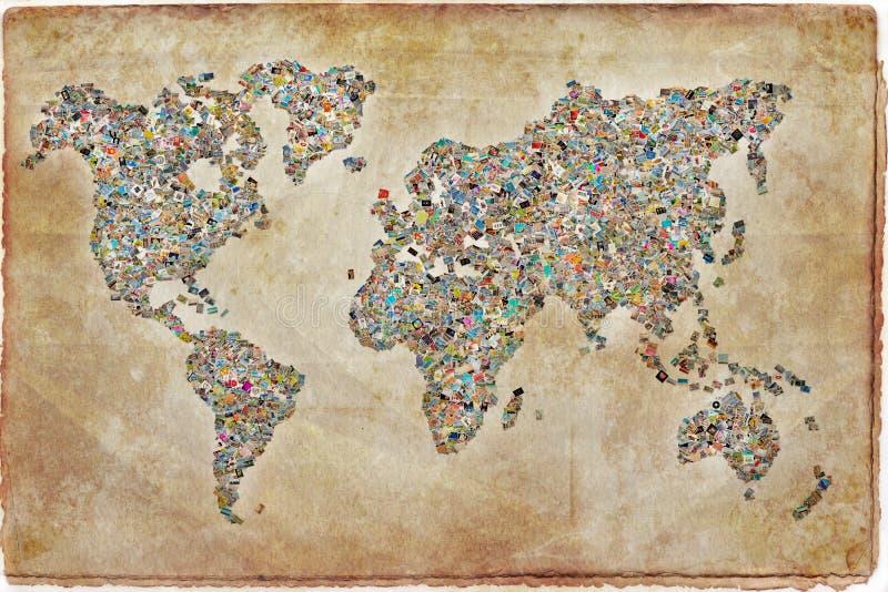 Collage de photos sous forme de carte du monde image stock