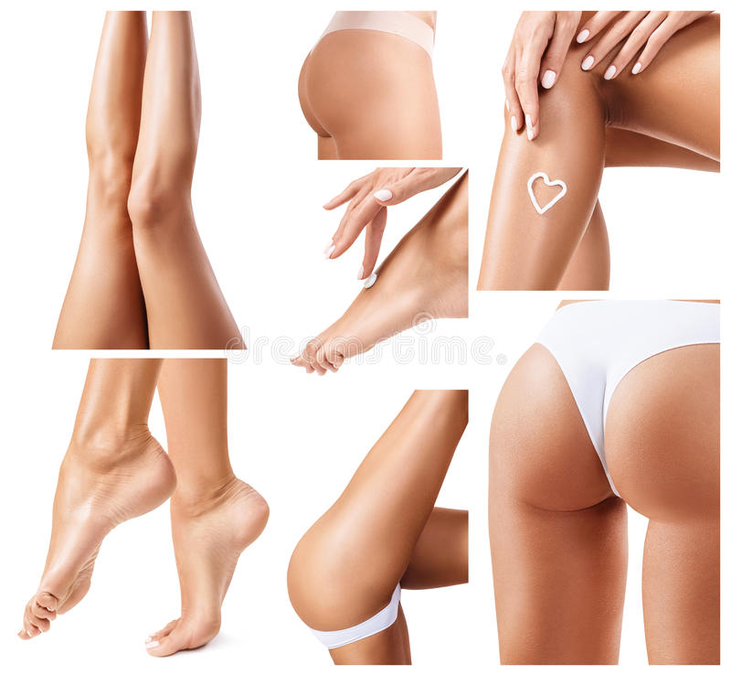 Collage de piernas femeninas perfectas y sanas fotografía de archivo libre de regalías