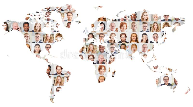 Collage de portrait de générations sur la carte du monde photo stock