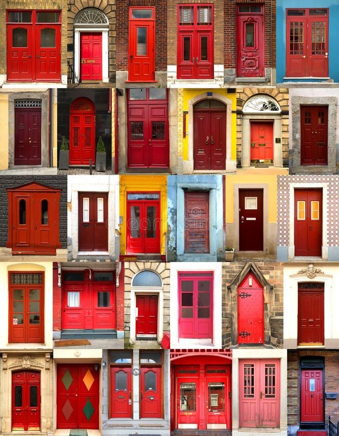 Collage de puertas rojas imagenes de archivo