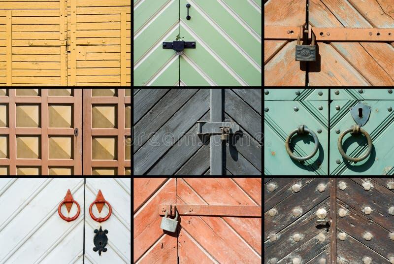 Collage de puertas viejas fotos de archivo
