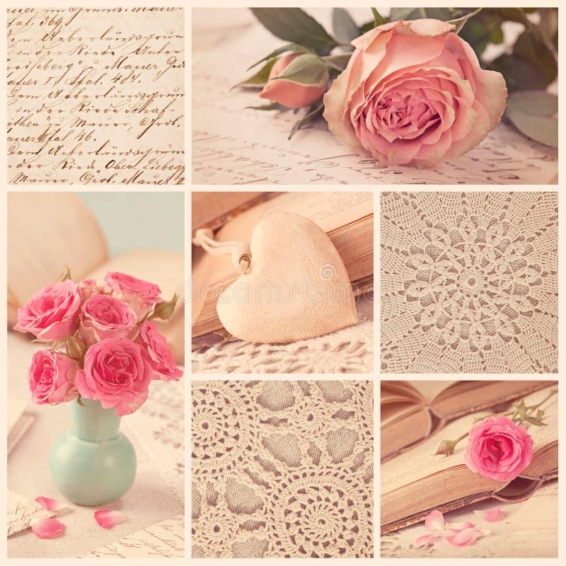 Collage de rétros photos image stock
