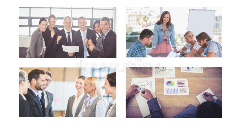 Collage de réunion d'affaires de travail d'équipe photographie stock libre de droits