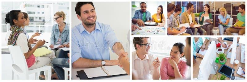 Collage de réunion de travail d'équipe images stock