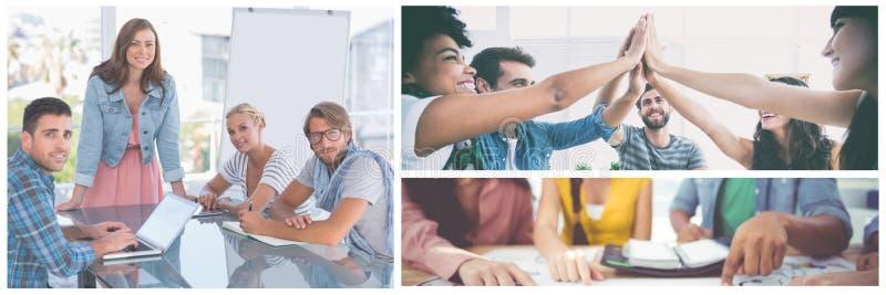 Collage de réunion de travail d'équipe photographie stock libre de droits