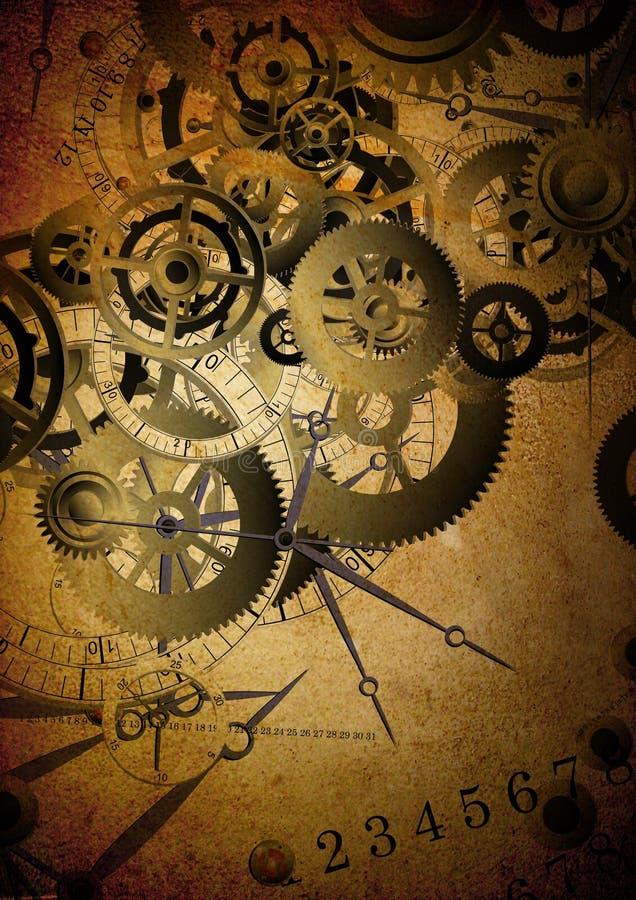 Collage de relojes en fondo de la vendimia ilustración del vector