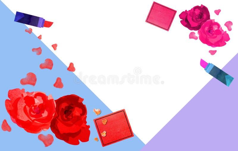 Collage de rouge à lèvres avec des roses illustration libre de droits