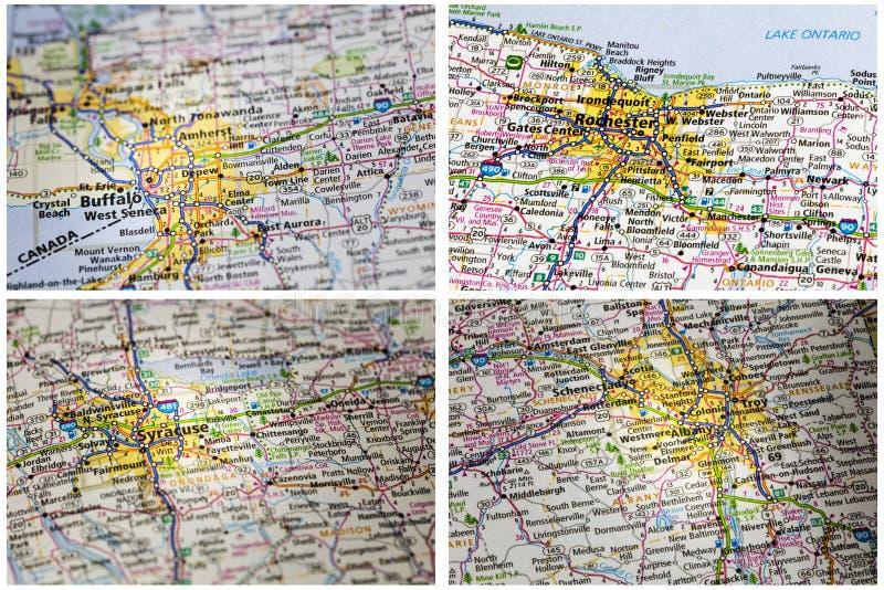 Collage de route d'impression d'atlas de cartes photo libre de droits