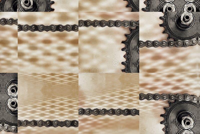 Collage de ruedas dentadas y de la cadena como fondo de la tecnología fotos de archivo
