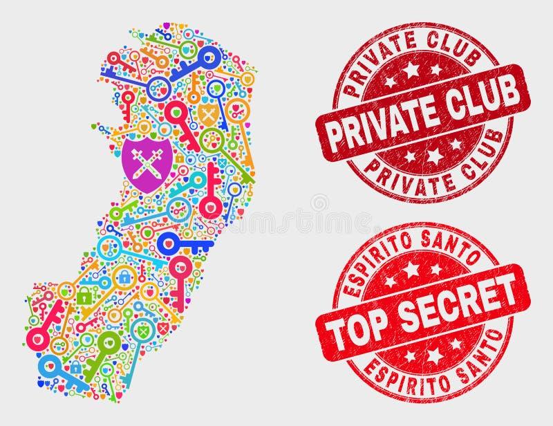 Collage de sauvegarde Espirito Santo State Map et de joint grunge de club privé illustration de vecteur