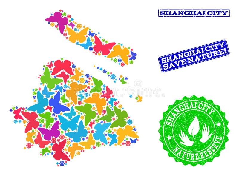 Collage de sauvegarde de nature de carte de municipalité de Changhaï avec des papillons et des timbres texturisés illustration de vecteur