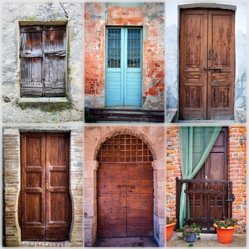 Collage de seis puertas de madera viejas imagen del color for Puertas viejas de madera