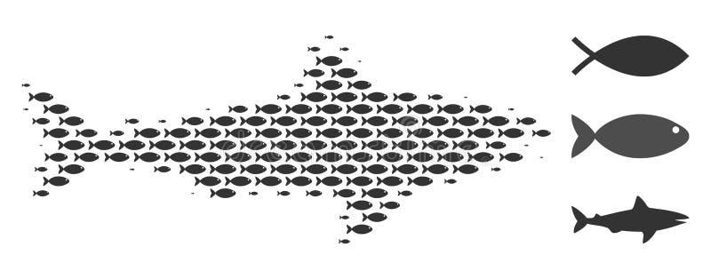 Collage de semitono del tiburón de los pescados ilustración del vector