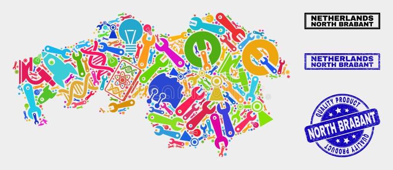 Collage de Service North Brabant Provincia Mapa y Sello de Producto de Calidad libre illustration