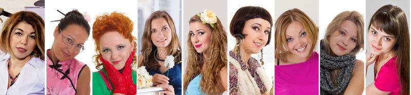 Collage de sourire de collection d'expression de bonheur de femmes de diversité photographie stock