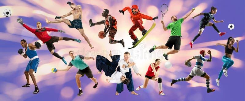 Collage de sport au sujet des athl?tes ou des joueurs Le tennis, fonctionnement, badminton, volleyball photos libres de droits