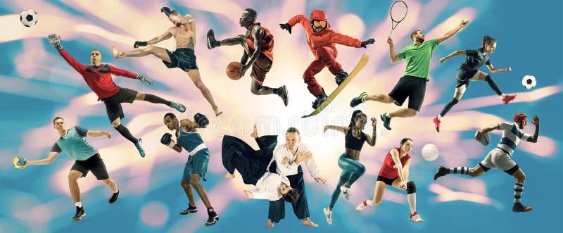 Collage de sport au sujet des athl?tes ou des joueurs Le tennis, fonctionnement, badminton, volleyball photo libre de droits