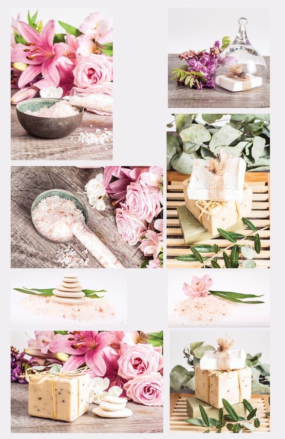 Collage de station thermale photos libres de droits