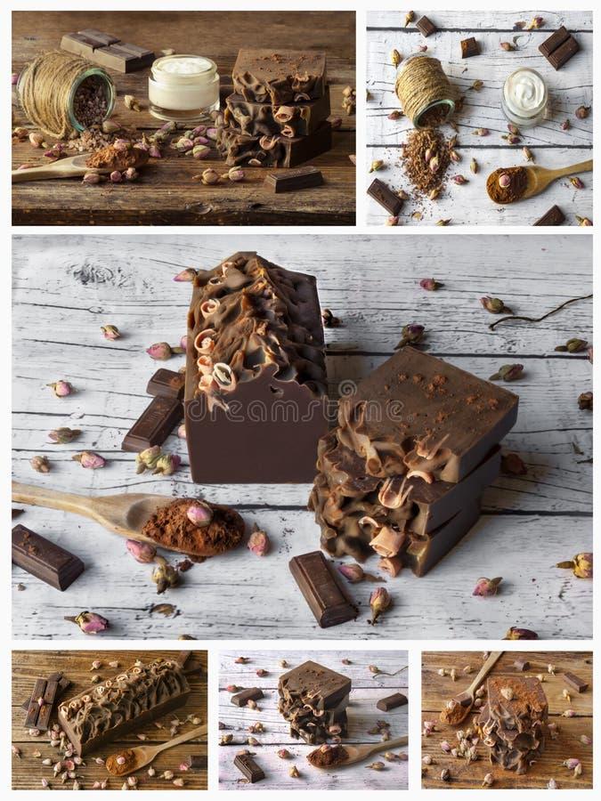 Collage de station thermale faite maison avec les ingr?dients naturels Chocolat photos libres de droits