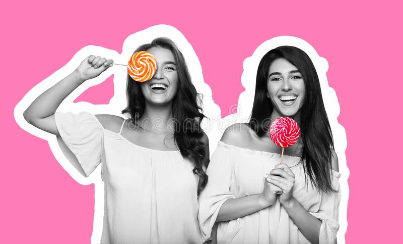 Collage de style de magazine de deux jeunes femmes ayant l'amusement avec des lucettes image libre de droits