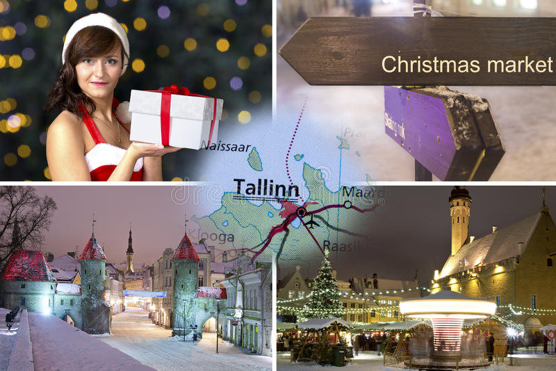 Collage de Tallinn de Noël photo libre de droits