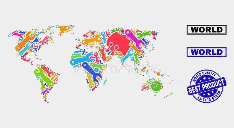 Collage de technologie Carte du monde et sceau de qualité des produits illustration stock